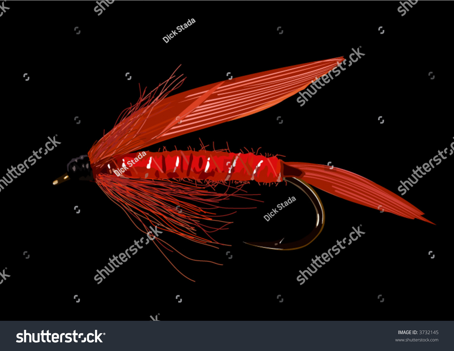 Realistic Fly Fishing Lure Red Colors Stock Vector 3732145 ...