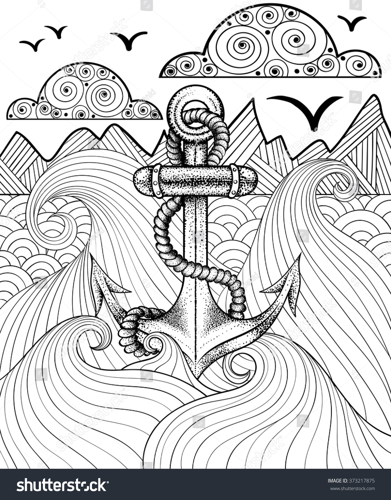 Coloring pages for adults zentangle - Vector Zentangle Print For Adult Coloring Page Hand Drawn Artistically Ethnic Ornamental Patterned Sea Anchor