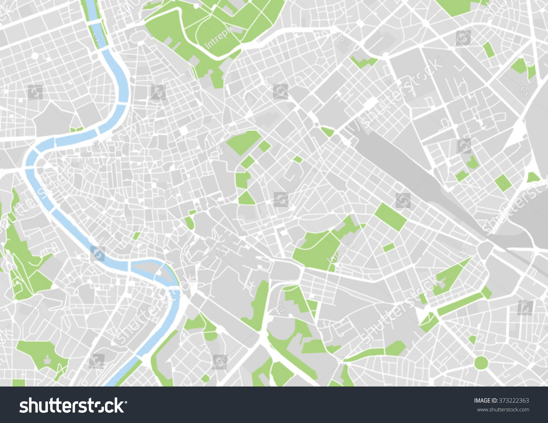 Vector City Map Rome Italy Stock Vector (Royalty Free) 373222363