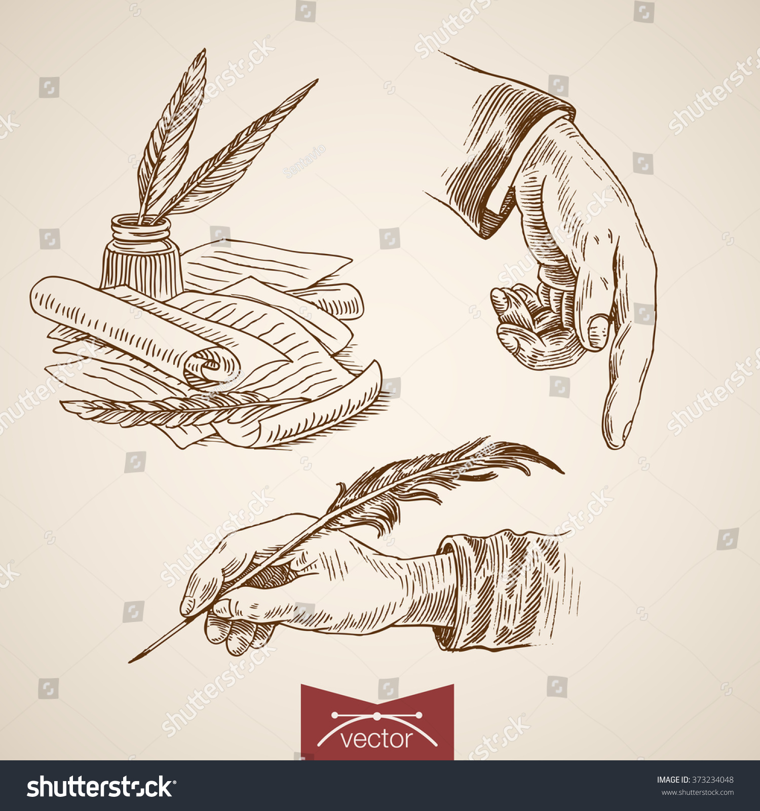 Poet Author Creative: Hand Hold Writing Feather Inkwell Pointer Stock Vector