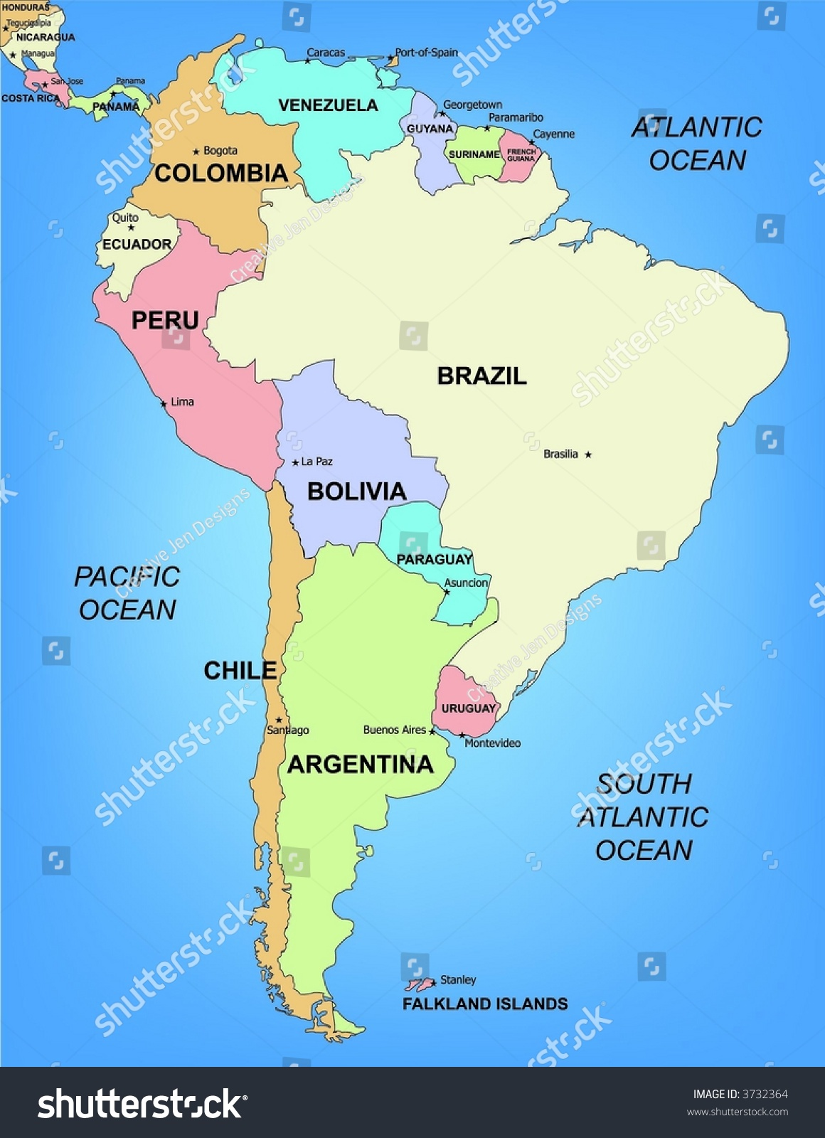 Illustrated Political Map South America Stock Illustration - Map of sourh america