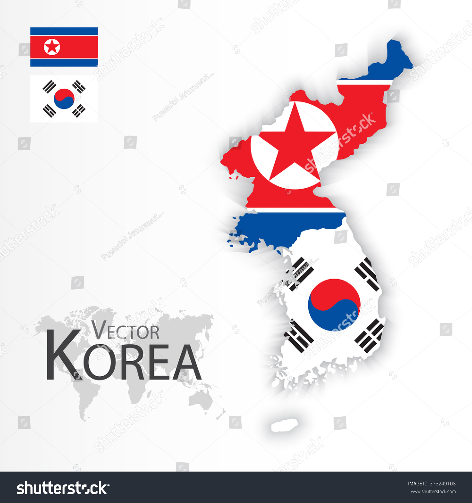 North Korea Democratic People s Republic of Korea and South Korea Republic of South Korea flag and map transportation and tourism concept
