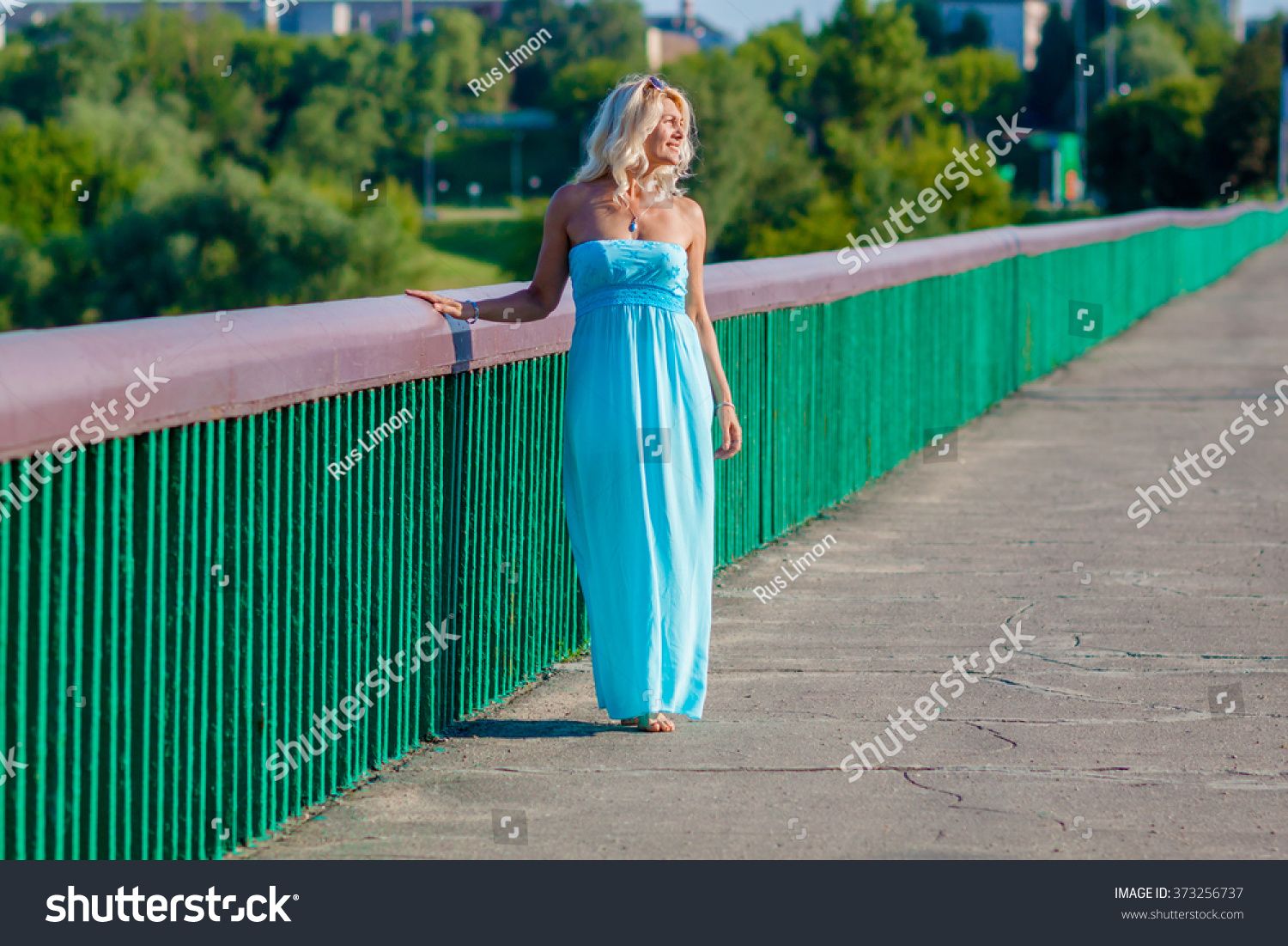 Are going mature blonde blue dress