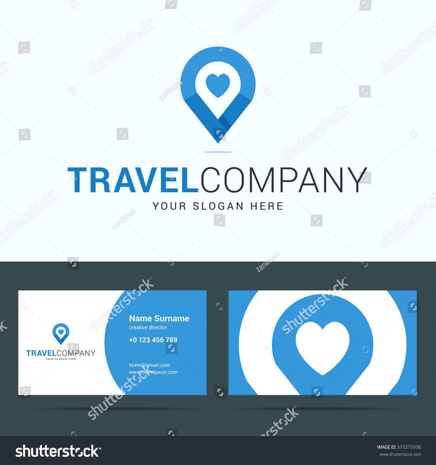 logo business card template travel pany stock vector