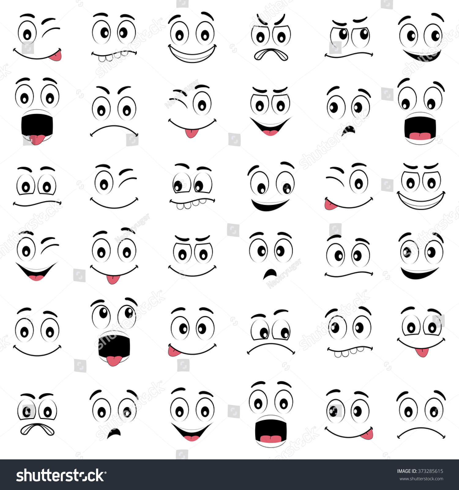 Cartoon Faces Different Expressions Featuring Eyes Stock