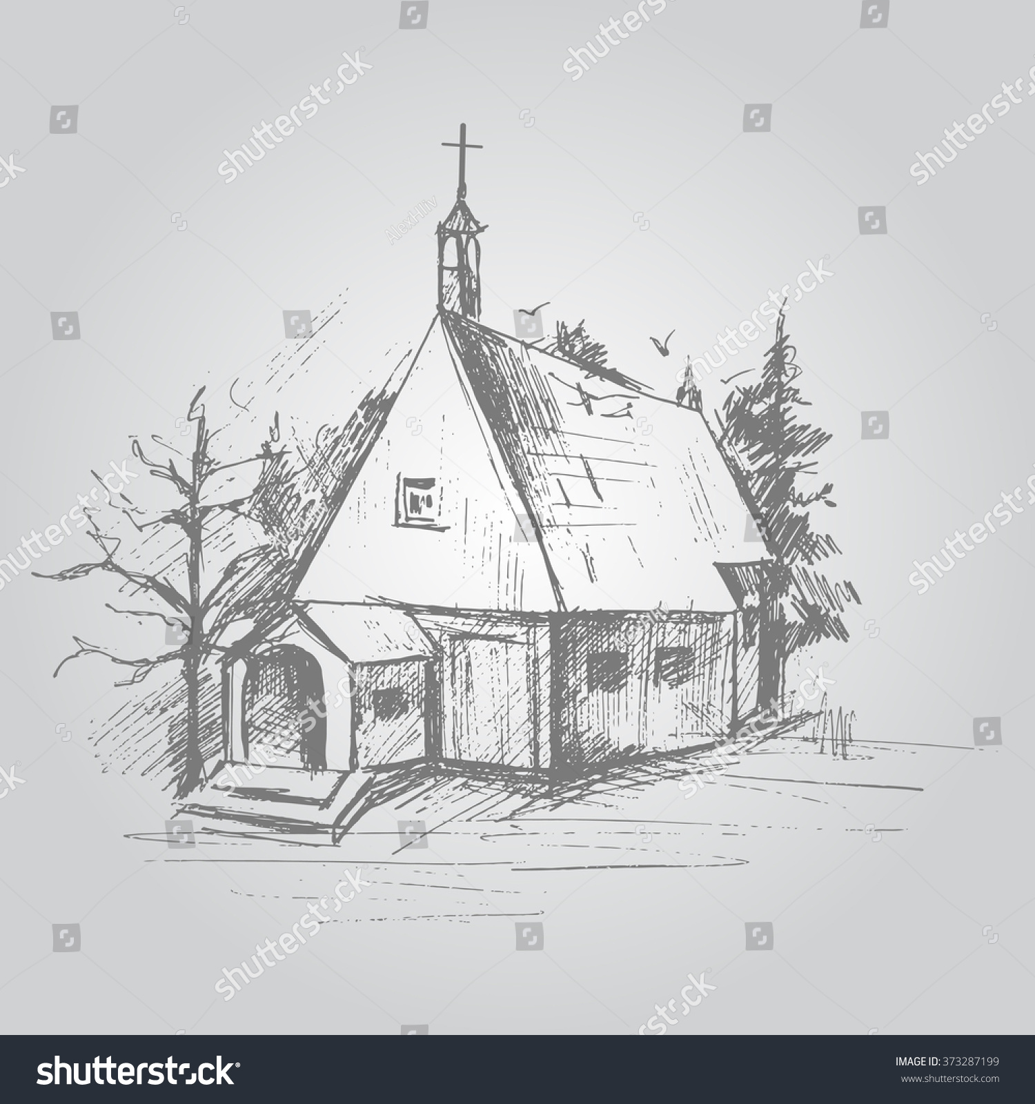 Hand pencil drawing house in forest vector illustration