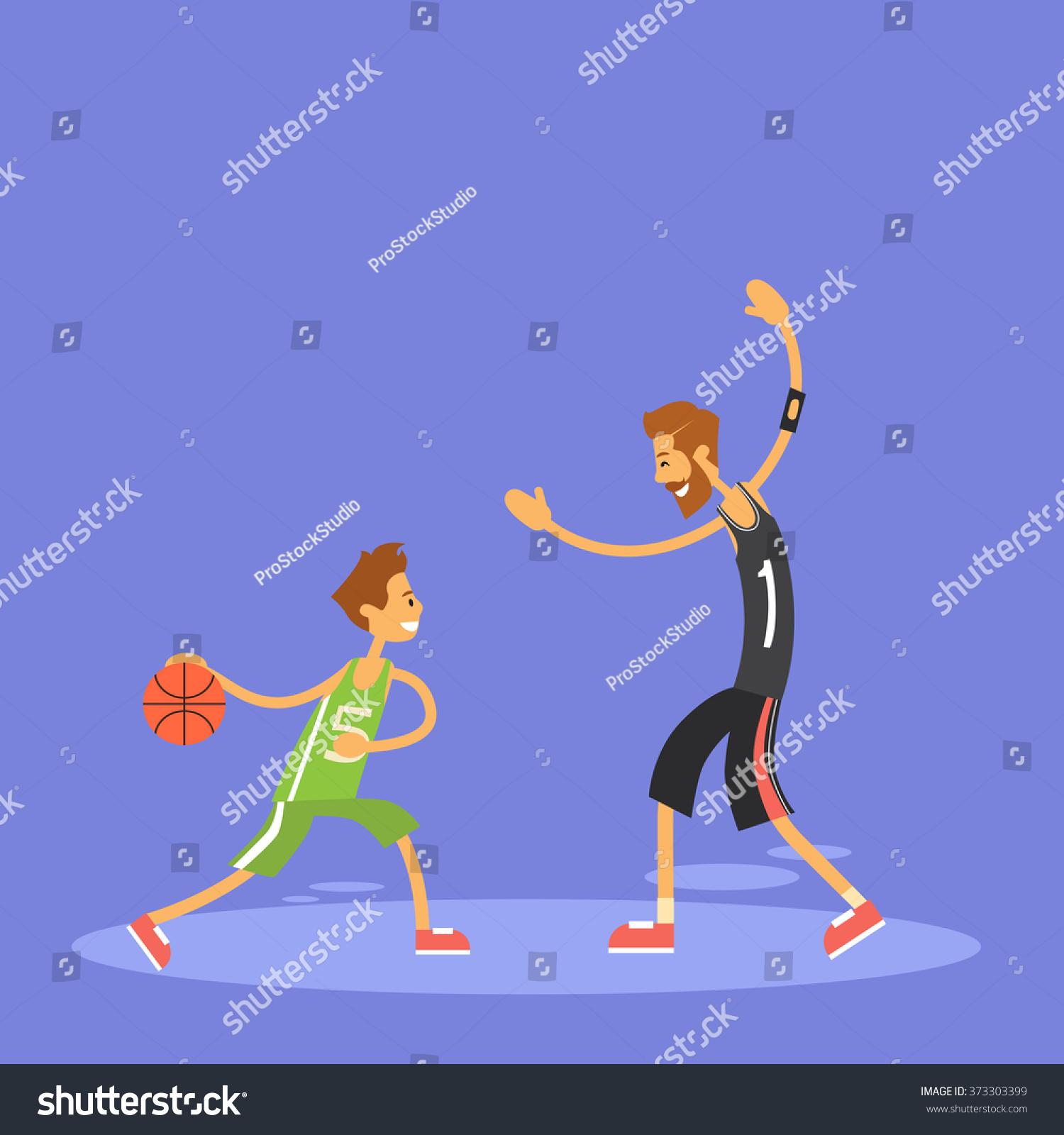 boy playing basketball sport game stock vector 373303399