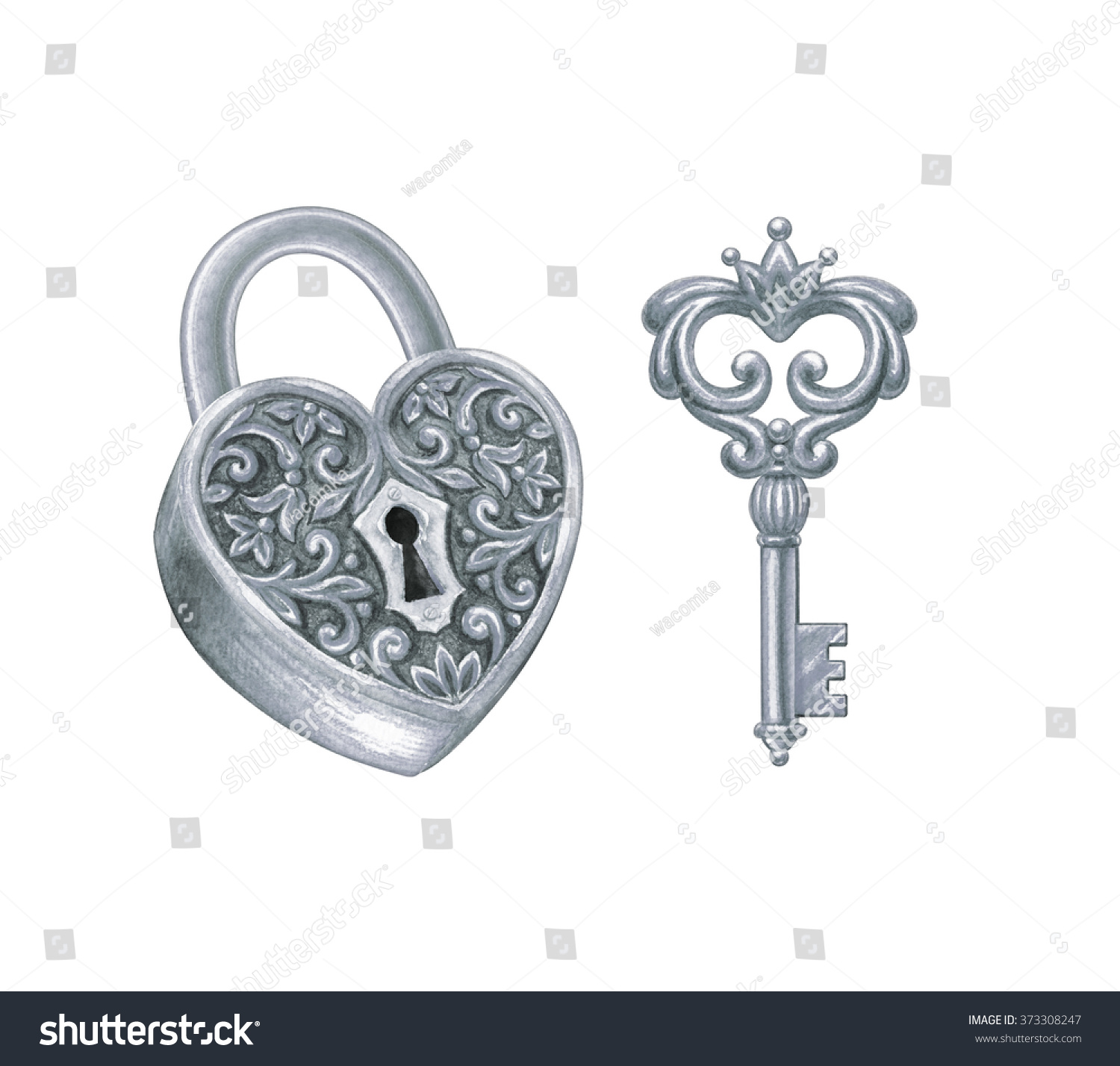 silver key and heart shaped lock design elements set