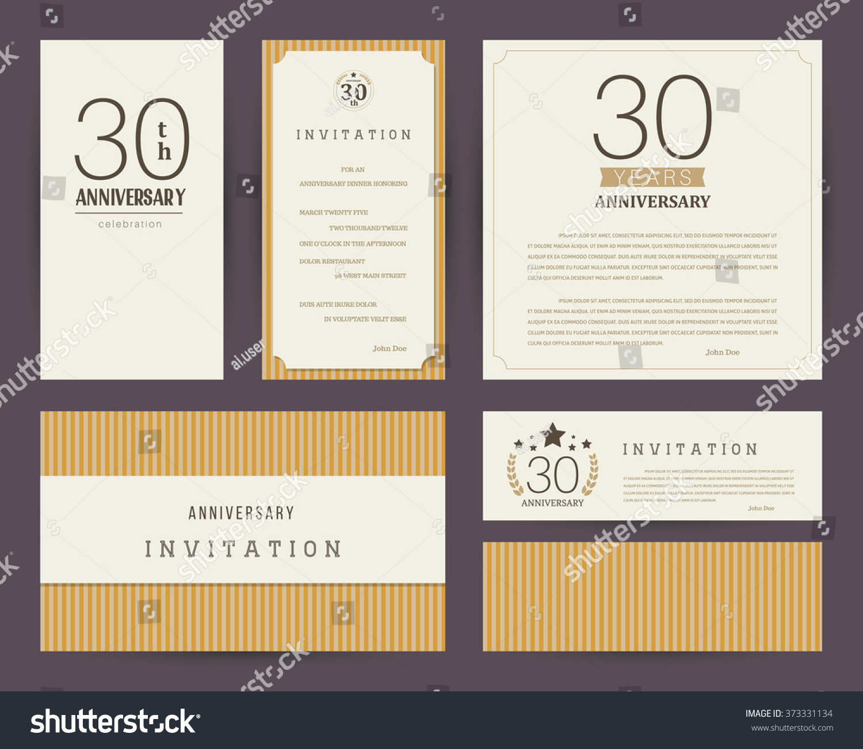 30 Year Anniversary Symbol: 30th Anniversary Invitation Cards Template Stock Vector