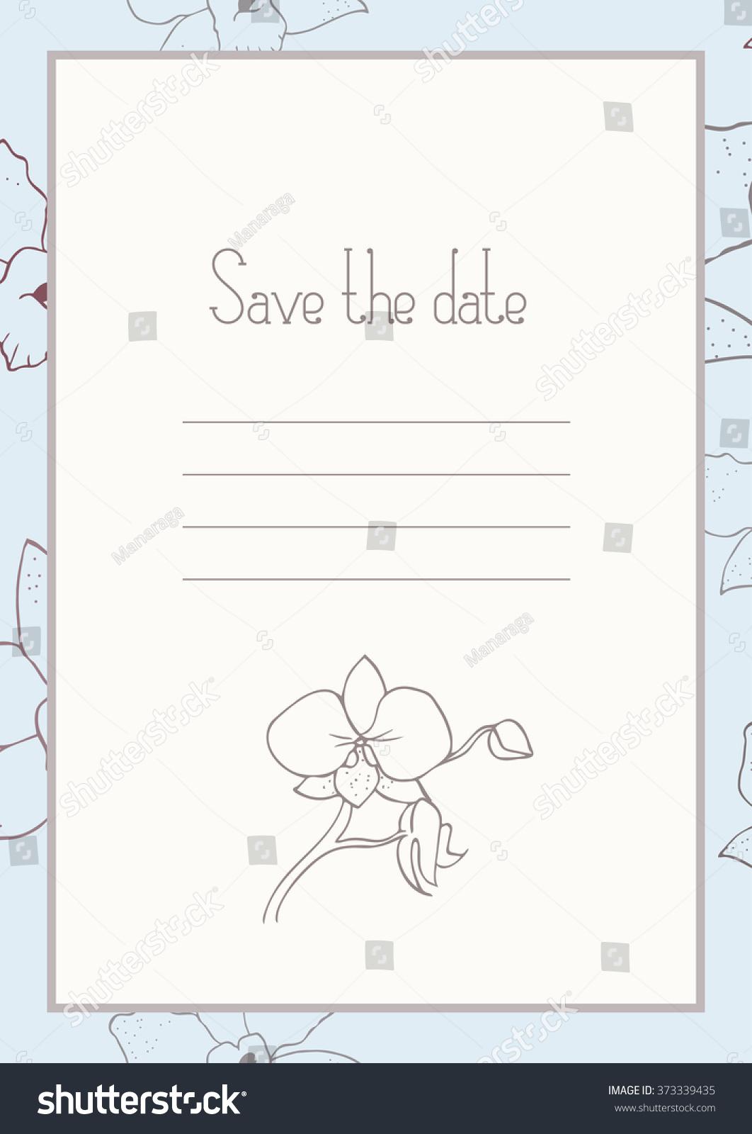 Vector Wedding Invitation Template Orchid Invite Stock Vector ...