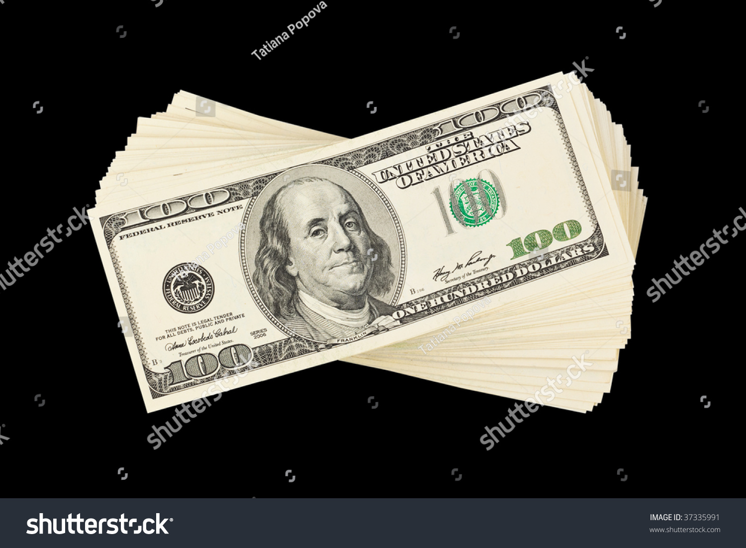 stack of money isolated on black background stock photo