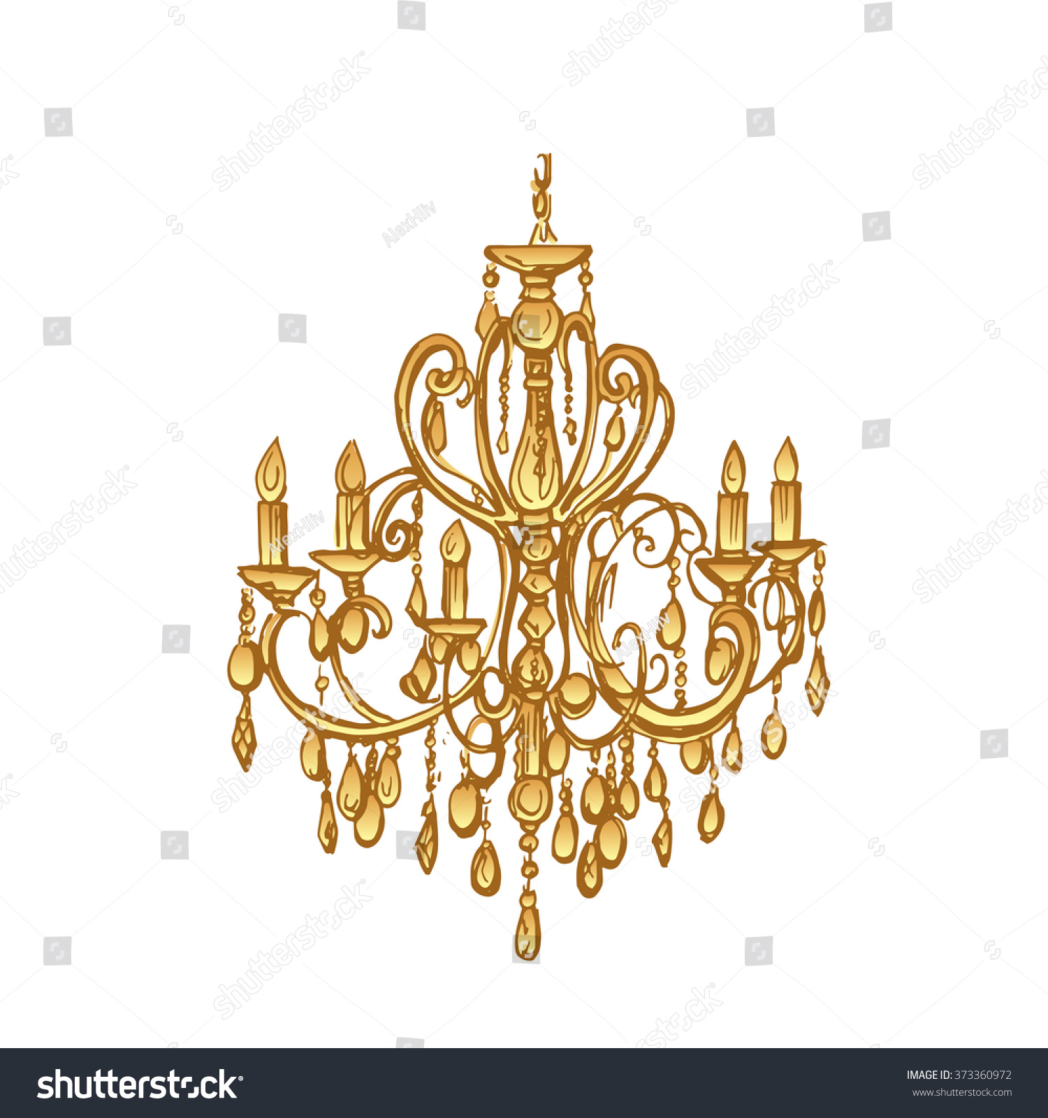 White Isolated Golden Chandelier Hand Drawn Stock Vector