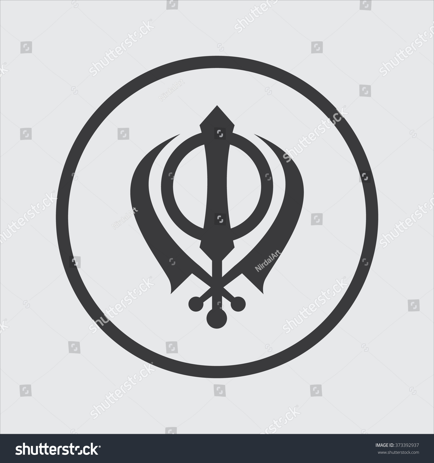 Khanda Symbol Sikhism Religion Vector Illustration Stock Vector