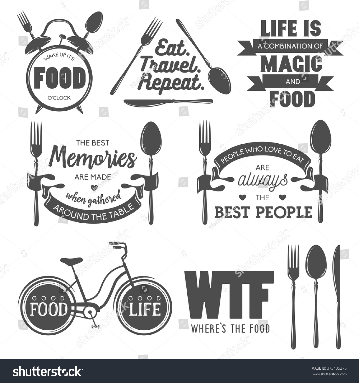 Set Vintage Food Related Typographic Quotes Stock Vektor