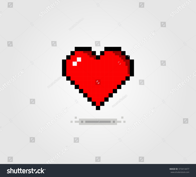 Flat Pixel Art Heart Valentines Day Stock-Vektorgrafik (Lizenzfrei ...