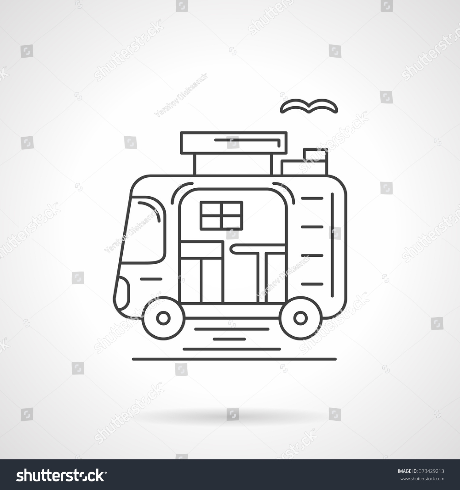 Caravan Car Or Camping Trailer Active Leisure Travel And Outdoors Rest Concept Vector