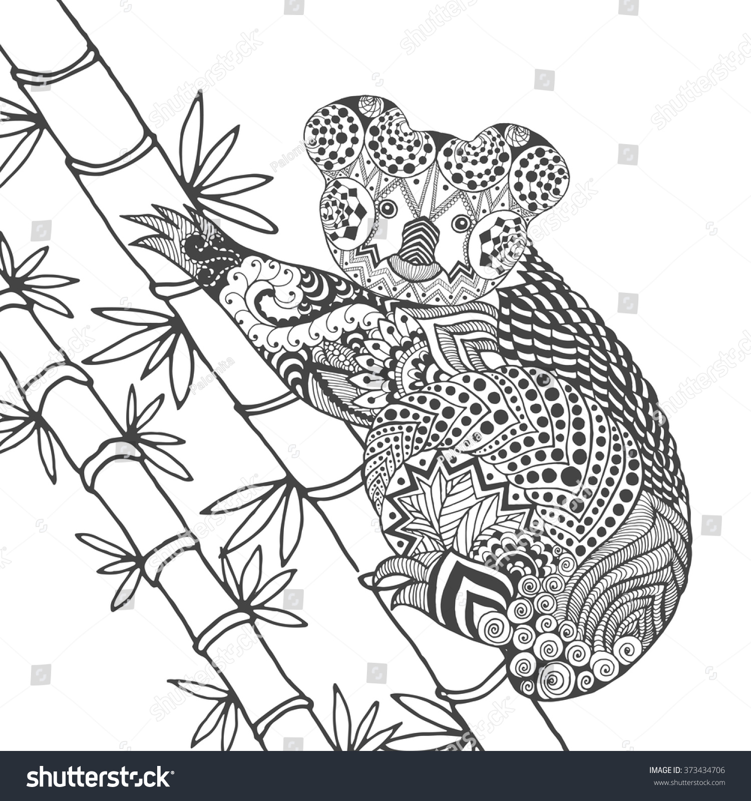 koala on tree coloring page animals stock vector 373434706