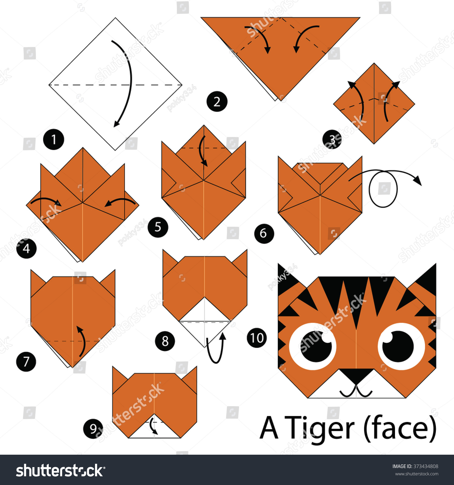 Step By Step Instructions How To Make Origami A Tiger (face)