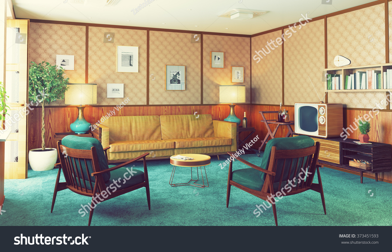 Beautiful Vintage Interior Wooden Walls Concept Stock Illustration