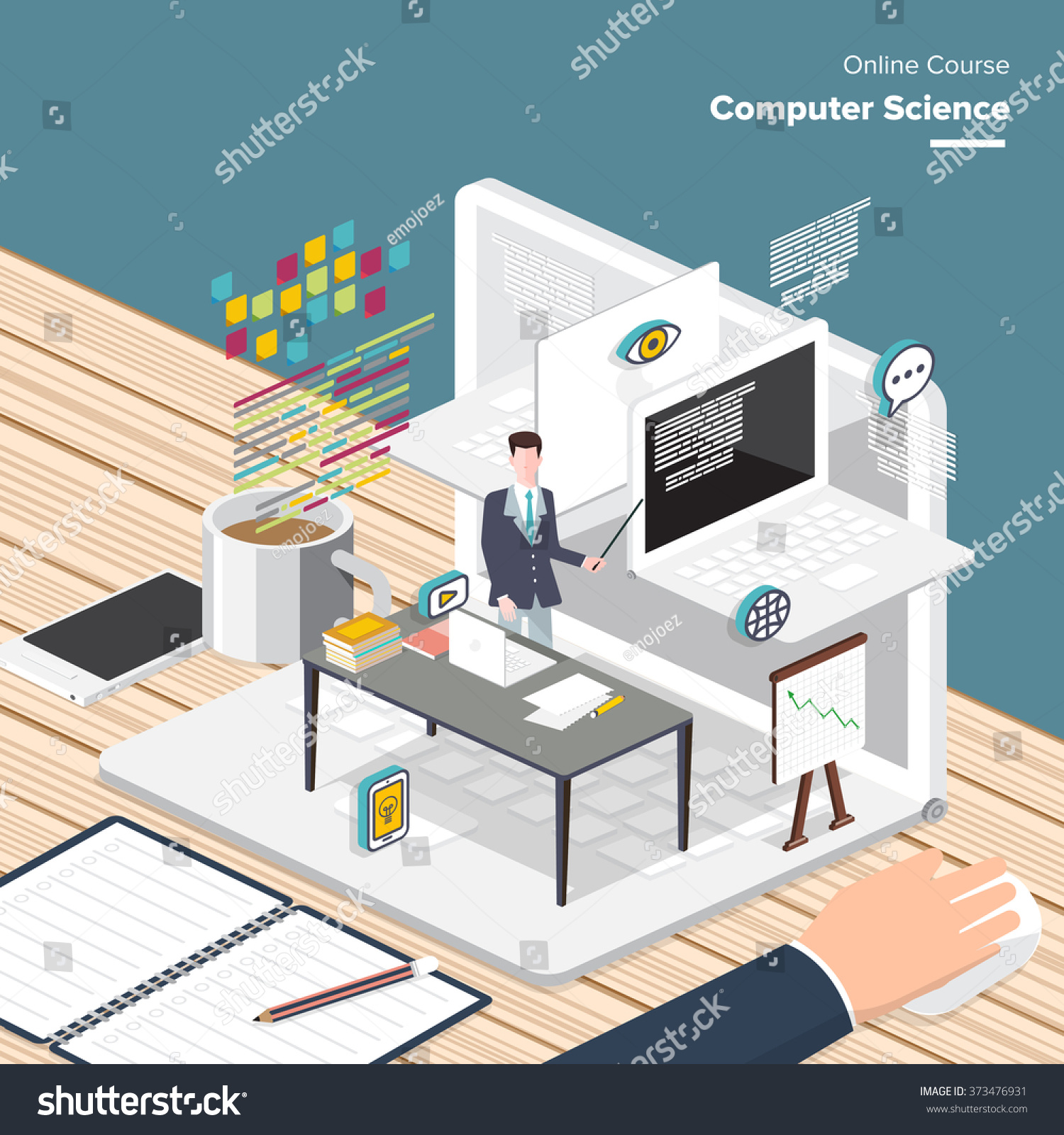 Vector E Learning Concept In Flat Style