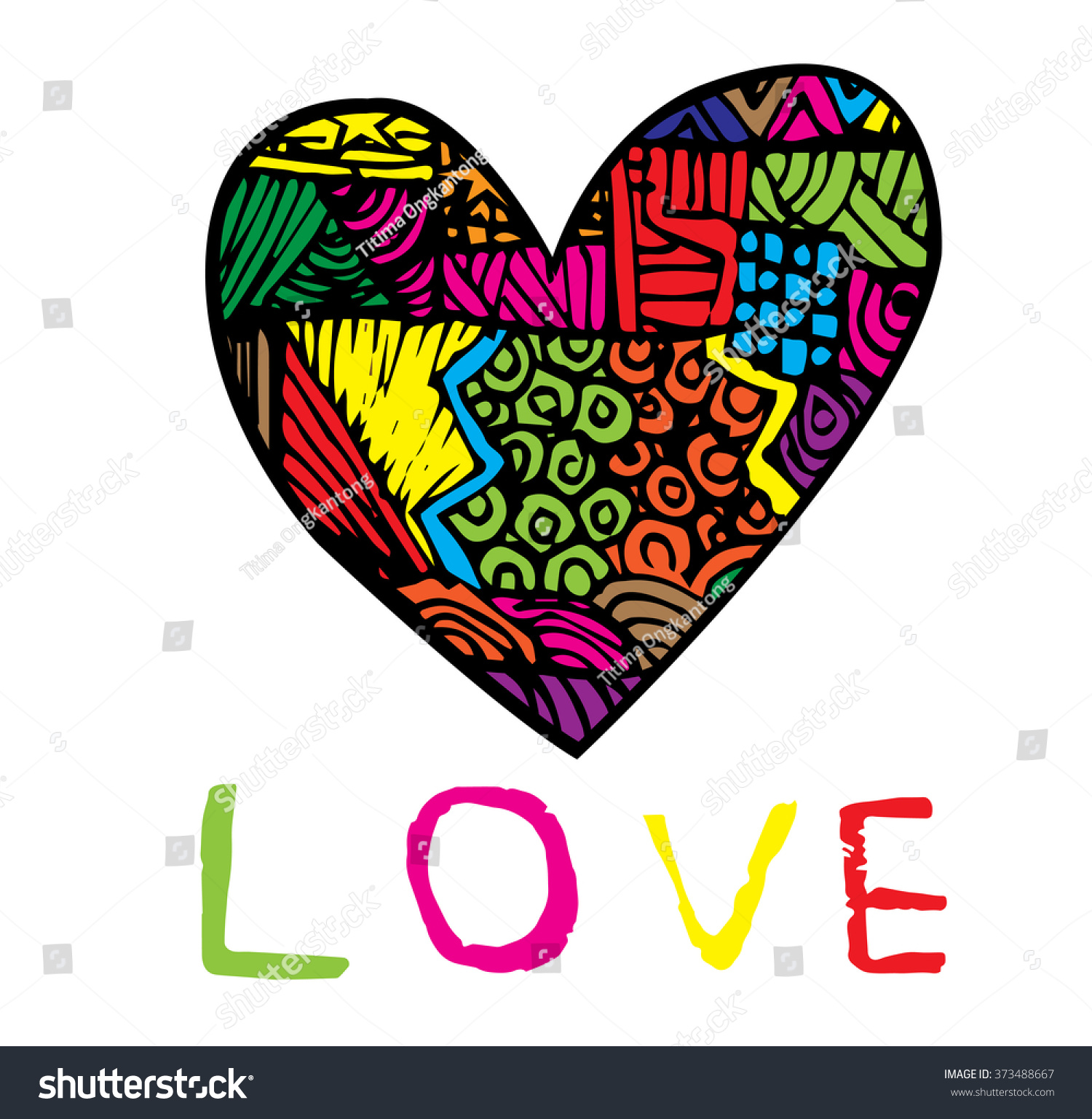 Coloring Page Heart St Valentines Day Stock Vector (Royalty Free ...