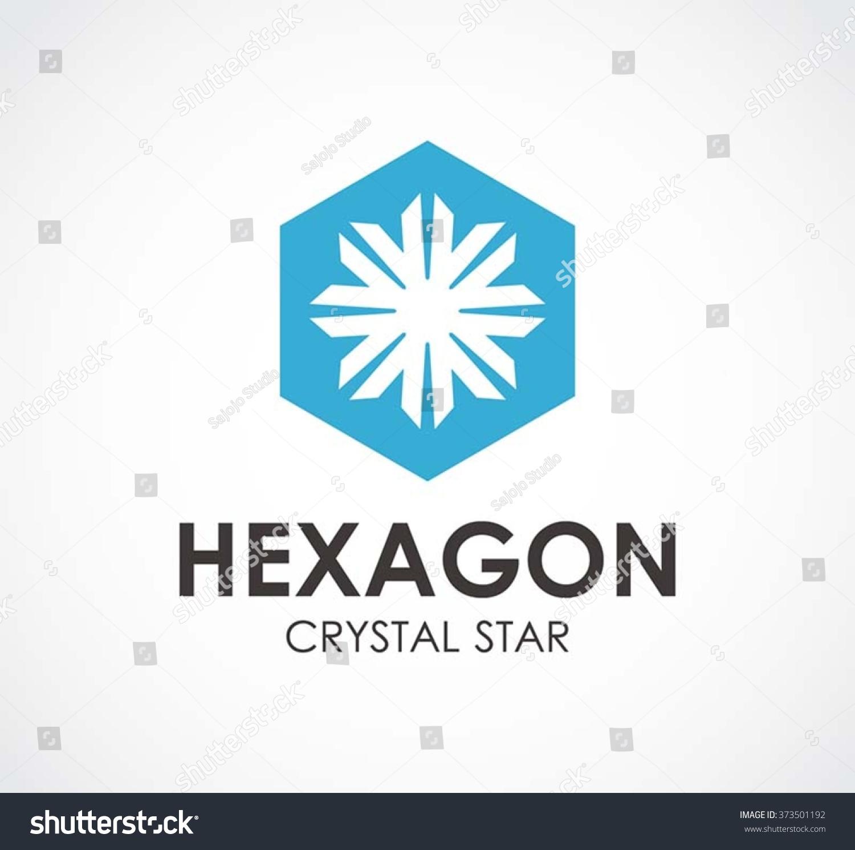 hexagon star crystal abstract vector logo stock vector royalty free