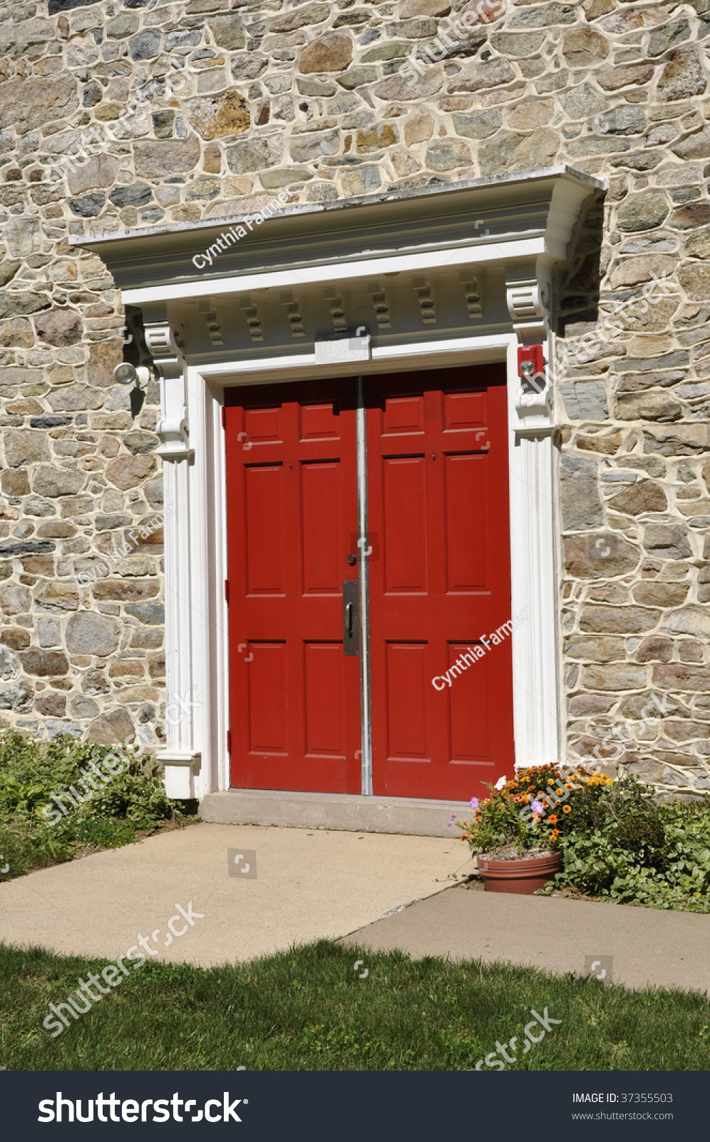 Closeup Double Red Doors Old Stone Stock Photo Edit Now 37355503