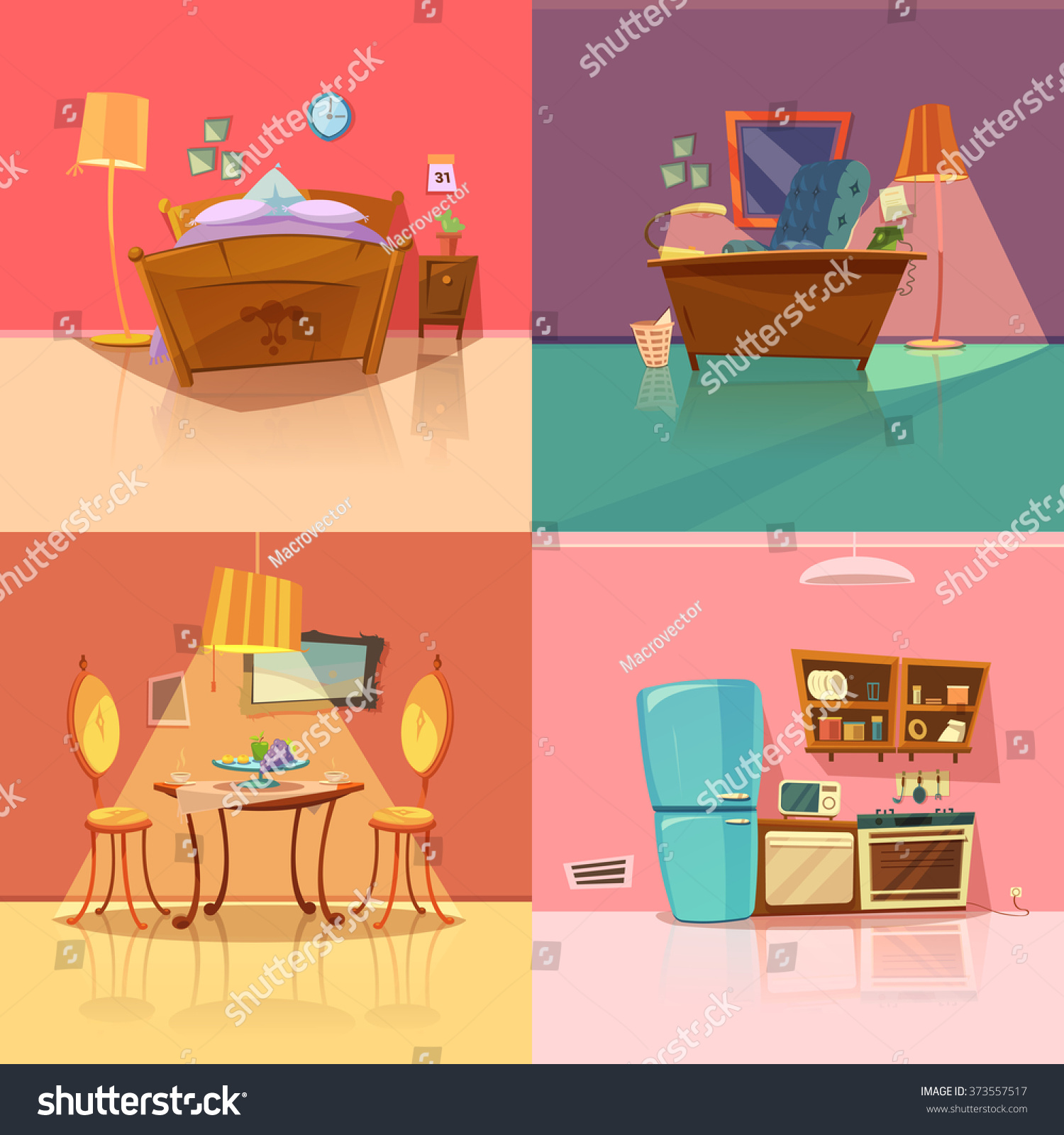 Cartoon Dining Room: Interior Retro Set Bedroom Dining Room Stock Vector
