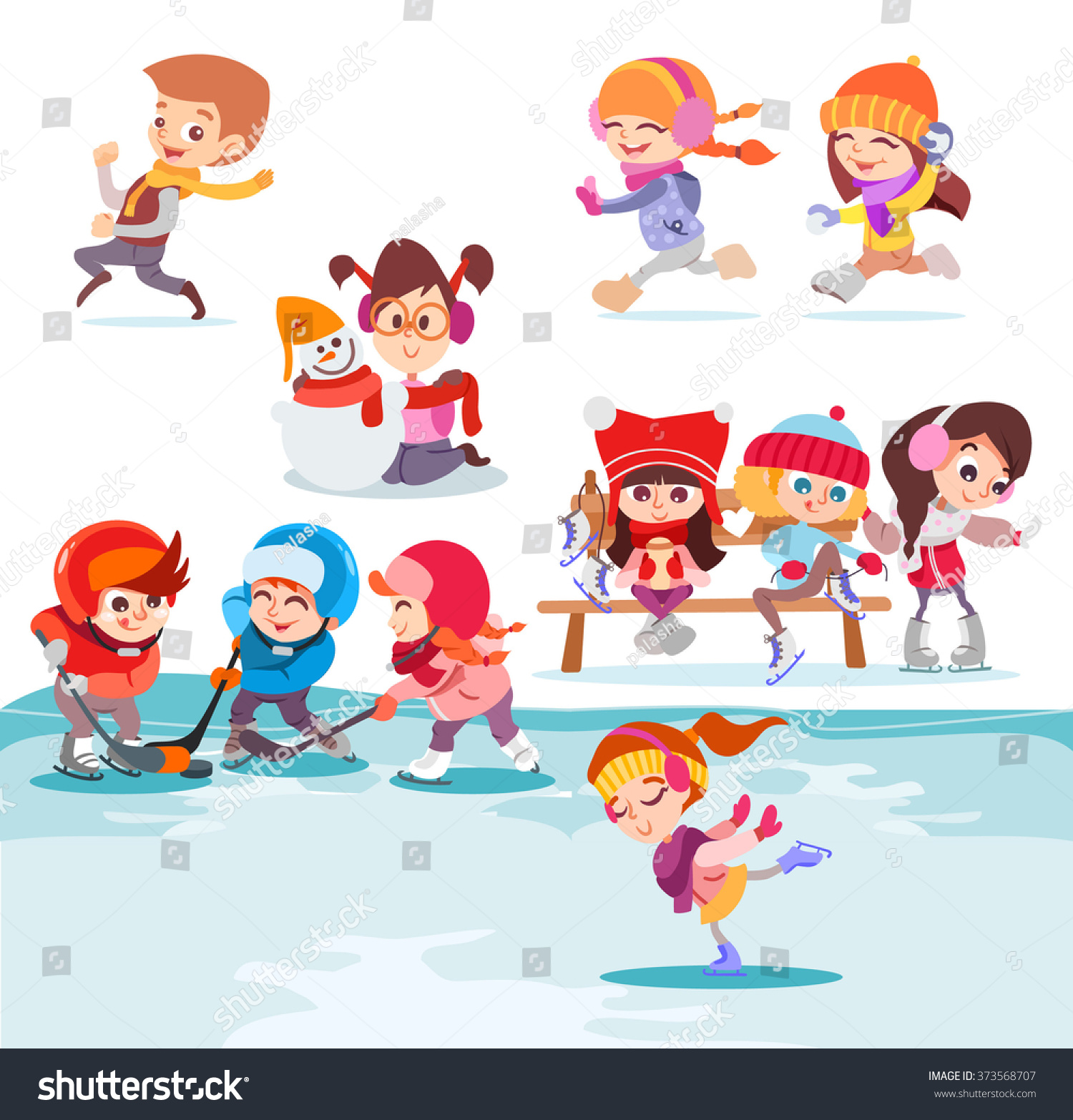 Illustration Groups Cute Cartoon Kids Playing Stock Vector Royalty Free 373568707