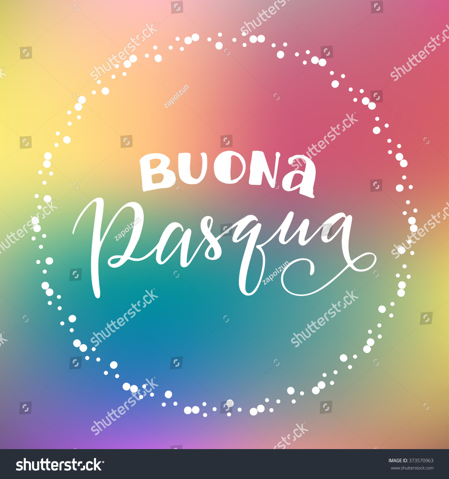 Happy Easter Italian Decorative Circular Frame Stock Vector