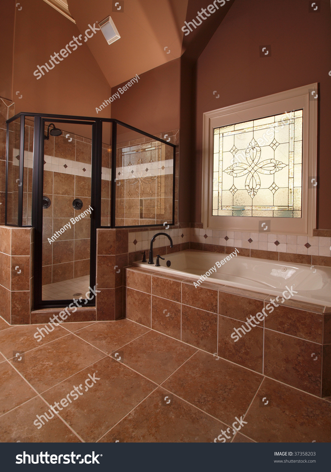 Luxury Home Tile Bathroom Stained Glass Stock Photo