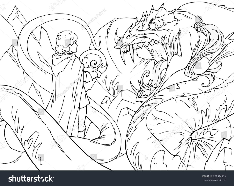 coloring book cartoon fantasy illustration huge stock vector