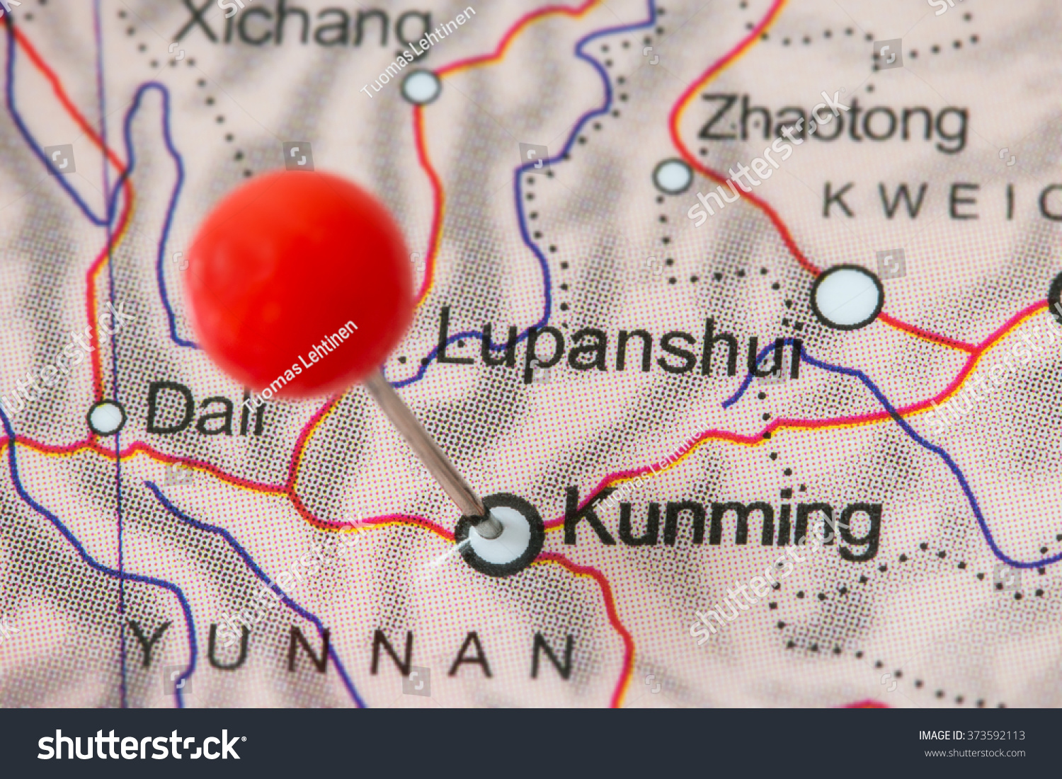 Closeup red pushpin map kunming china stock photo download now close up of a red pushpin in a map of kunming china gumiabroncs Gallery