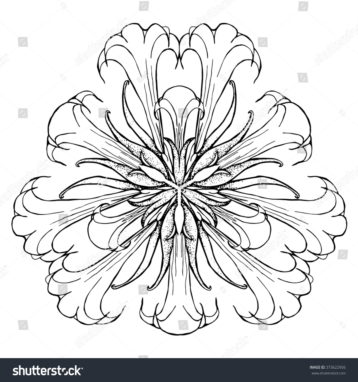 abstract coloring page flower mandala stock vector 373622956
