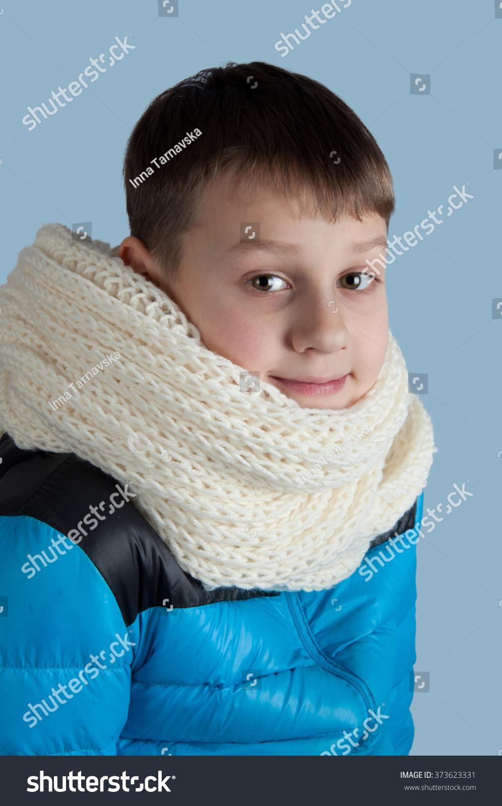 Cute Boy Blue Jacket White Scarf Stock Photo (Edit Now