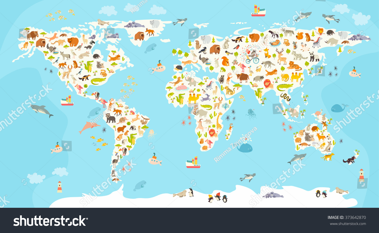 World mammal map beautiful cheerful colorful vectores en stock world mammal map beautiful cheerful colorful vector illustration for children and kids preschool gumiabroncs Gallery