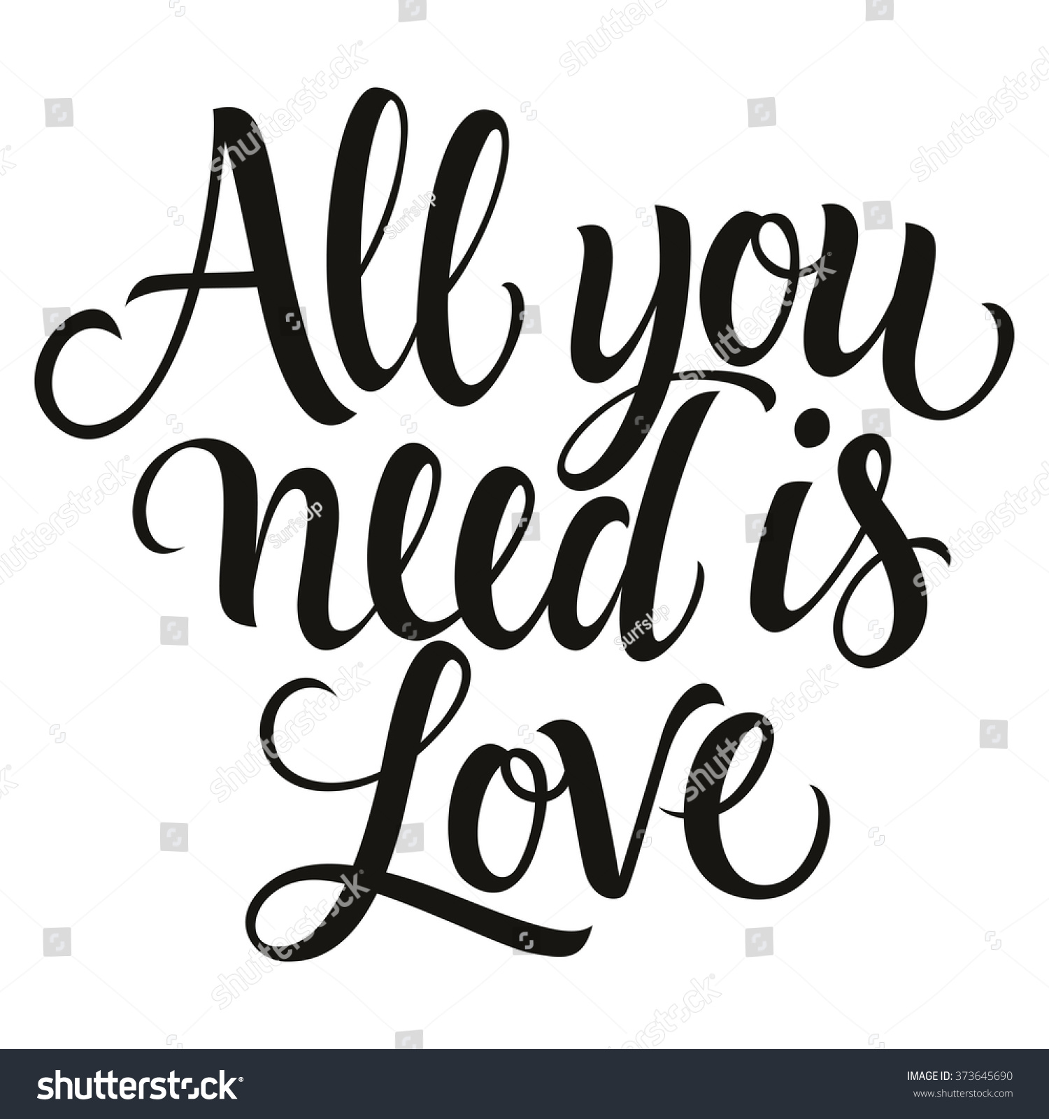 royalty free calligraphic all you need is love 373645690