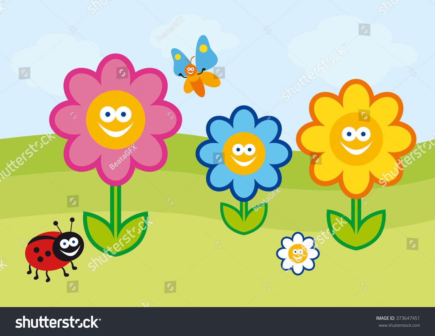 Funny spring illustration crazy colorful flowers stock illustration crazy colorful flowers childrens summer colorful drawing beautiful playful illustration izmirmasajfo Gallery