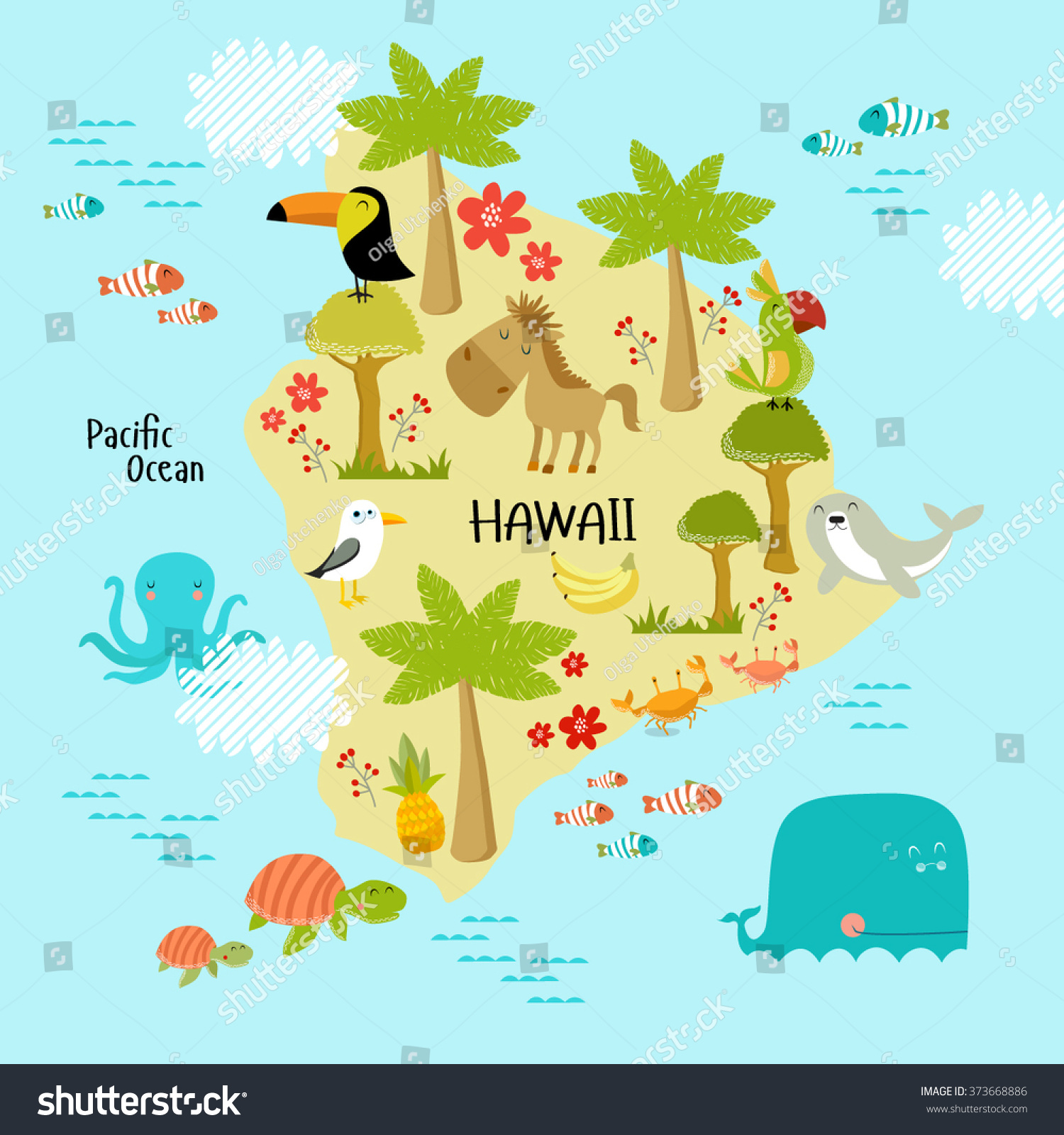 Vector Map Of Hawaii With The Animals That Live On The
