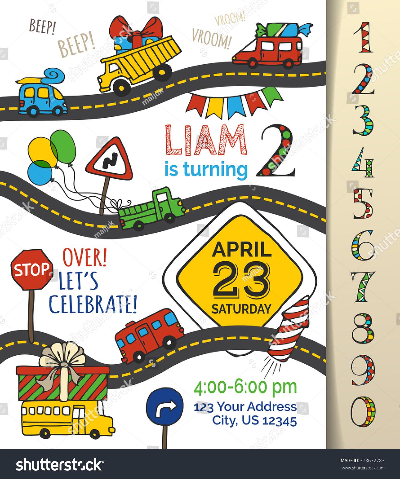 Vector Birthday Invitation Template Boy Handdrawn Vector – Cars Birthday Invitation Templates