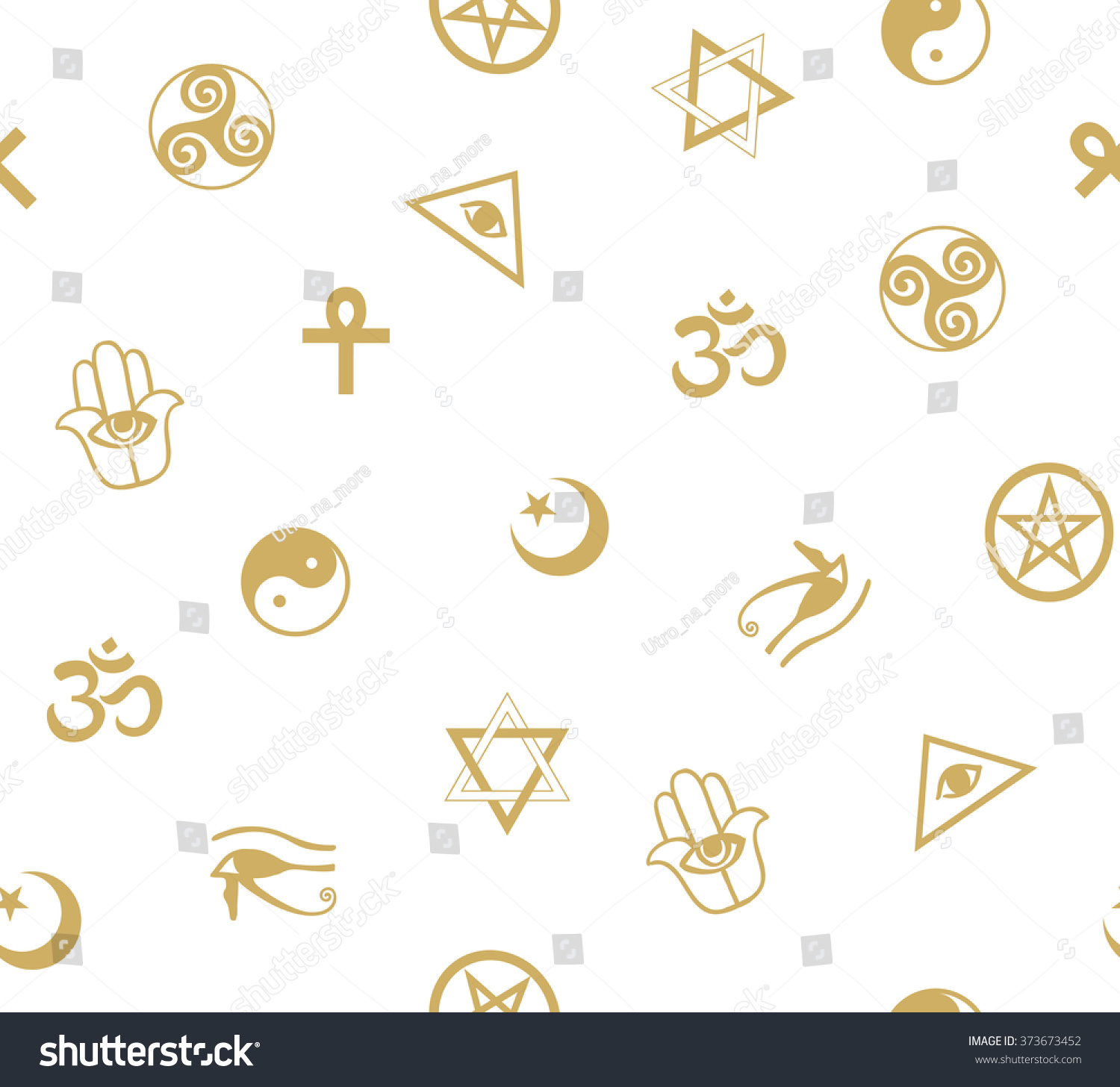 Seamless Pattern Ancient Sacral Symbols Egyptian Stock Vector
