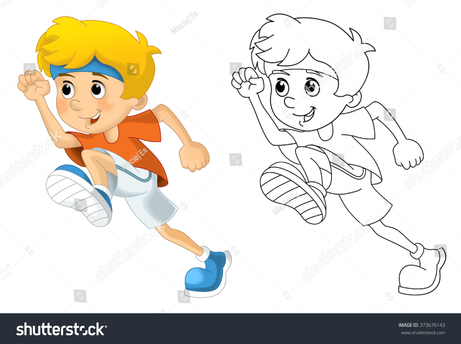 kids sport gymnastics running coloring page stock illustration