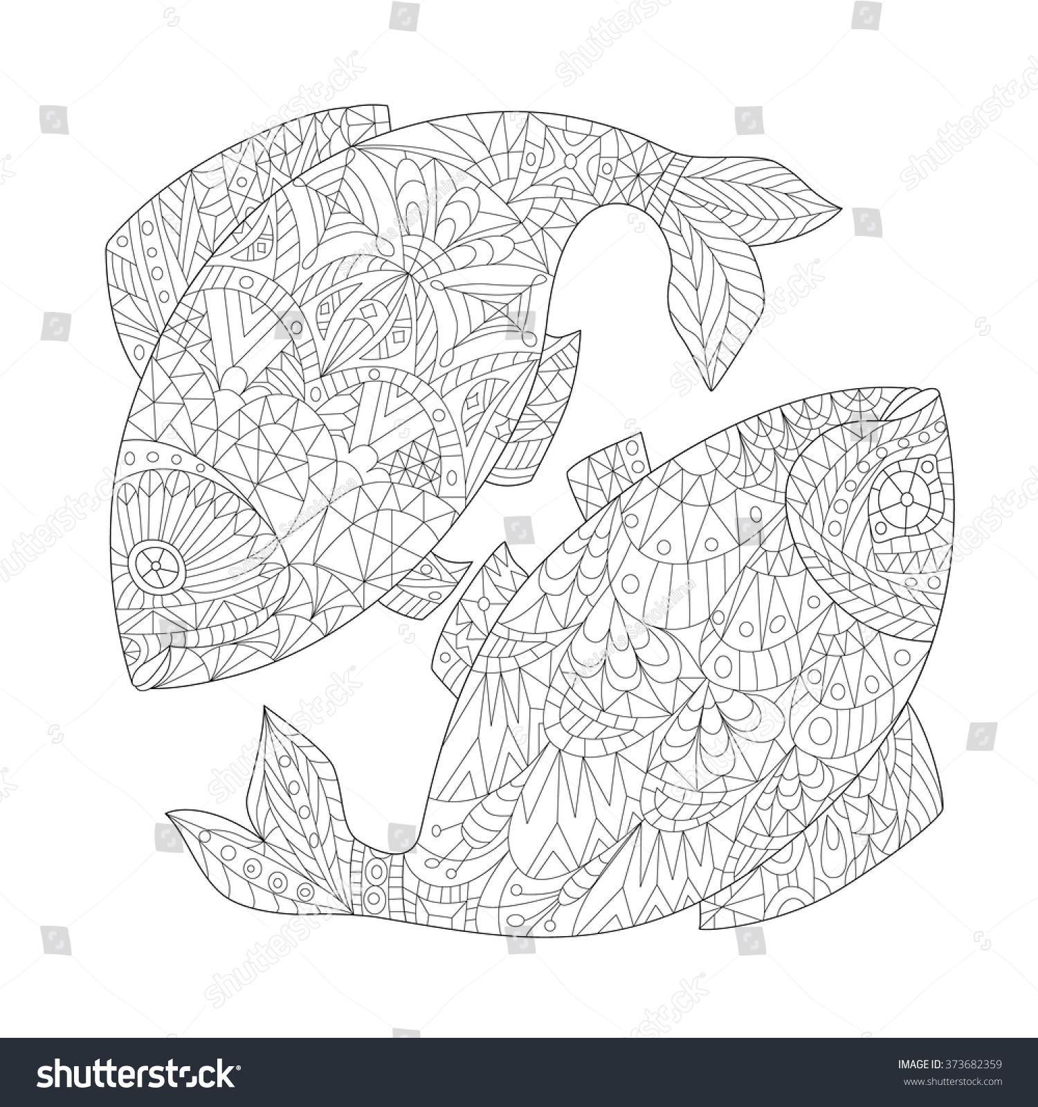 Handdrawn Zodiac Pisces Ethnic Floral Geometric Stock Vector