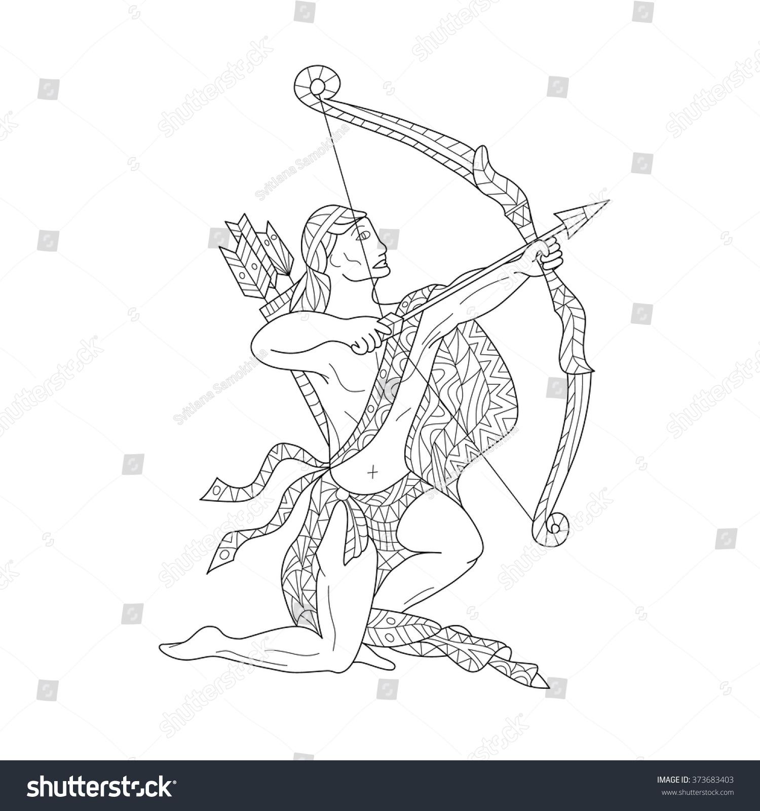 Handdrawn Zodiac Sagittarius Ethnic Floral Geometric Stock Vector