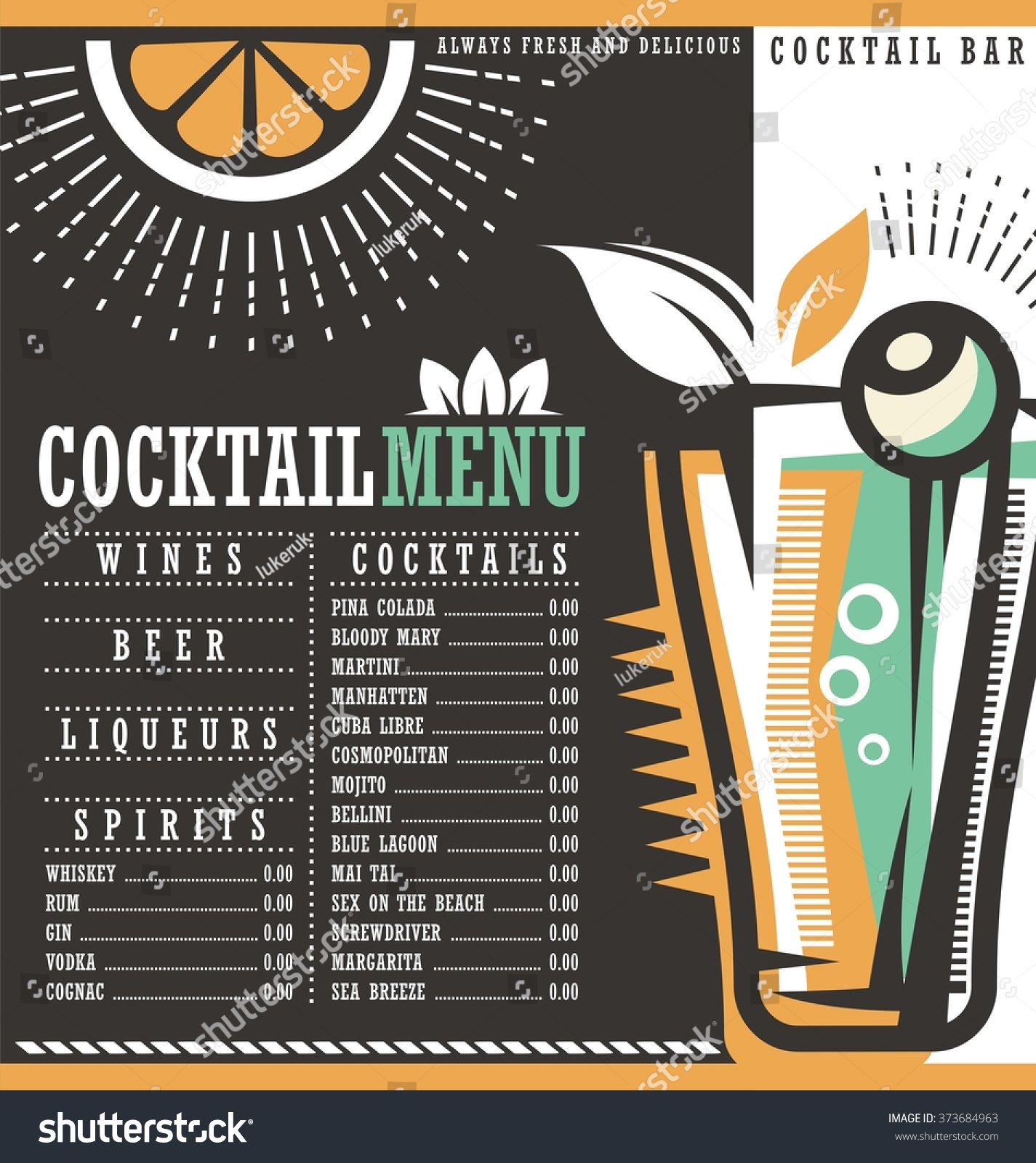 cocktail list template