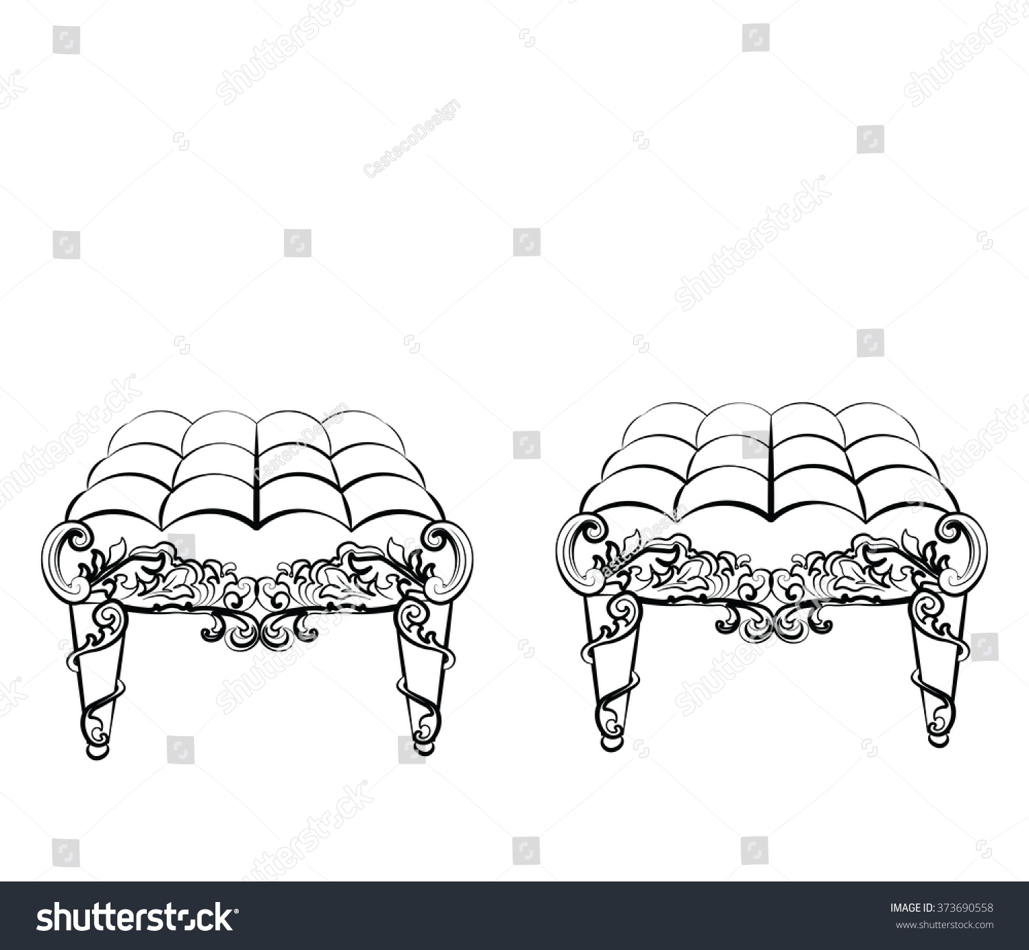 Rococo furniture sketch - Chair Furniture In Classic Rococo Style Ornament Vector Sketch