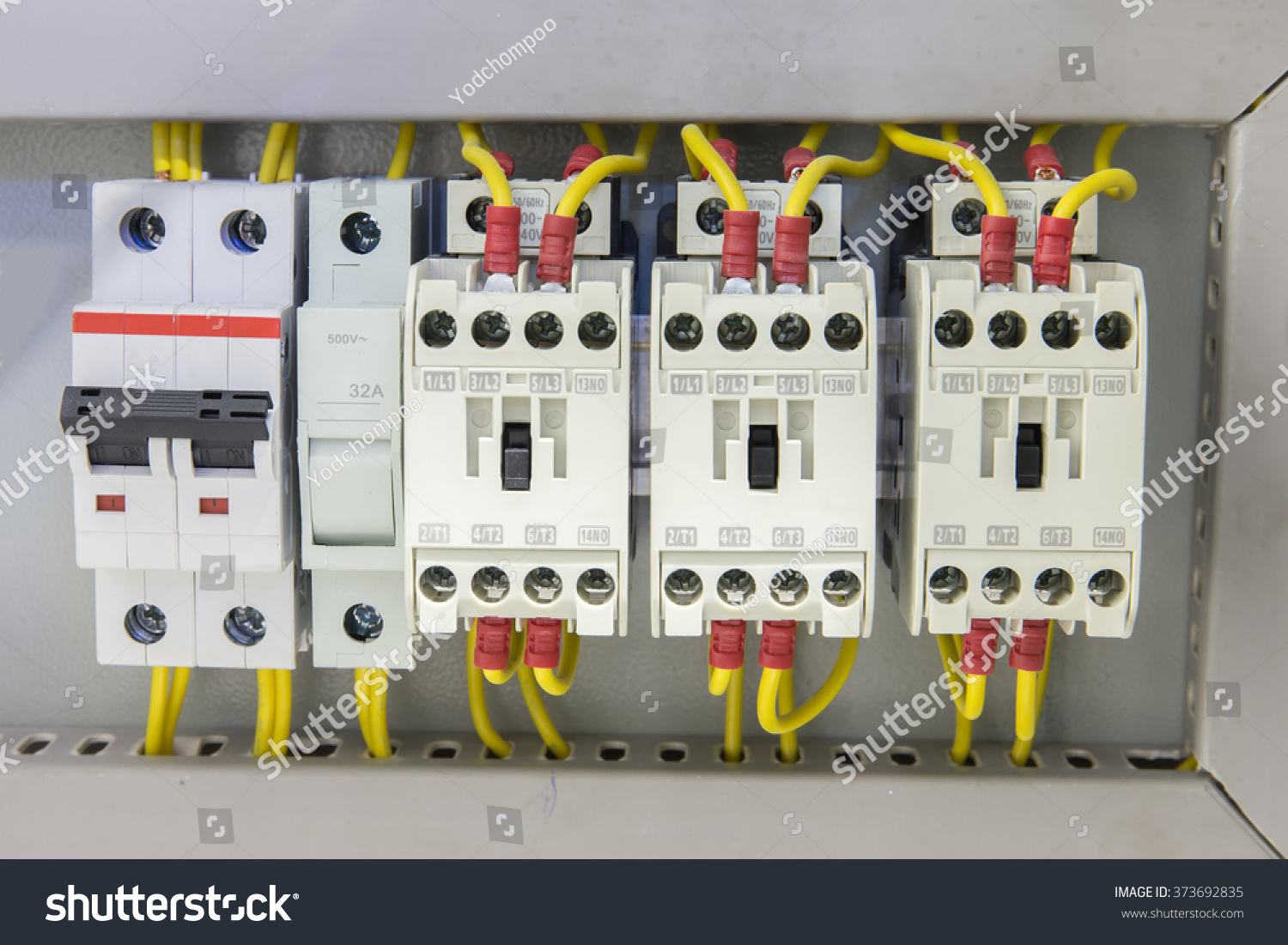 Industrial Electrical Panel Electronic Devices Relay Stock Photo
