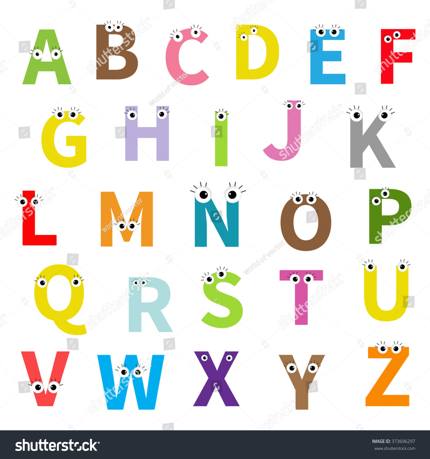 alphabet english abc letters face eyes stock vector 373696297 rh shutterstock com vector letters for employment vector letters illustrator