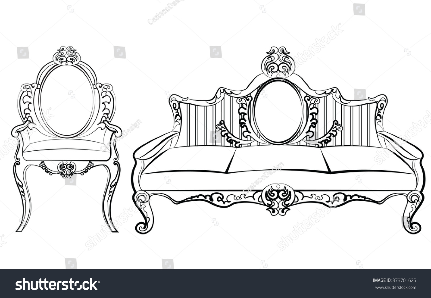Rococo furniture sketch - Chair And Sofa Furniture Set With Luxurious Ornament Baroque Style Vector Sketch
