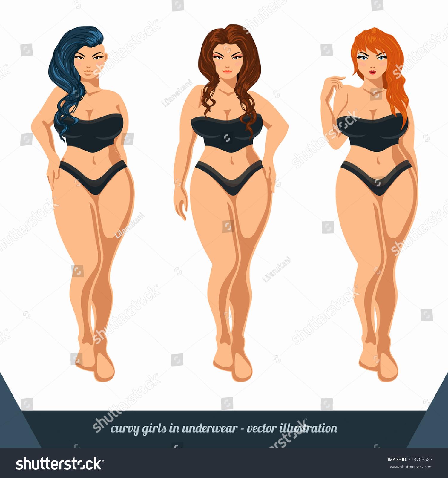 Curvy Women Underwear Plus Size Models Stock Vector